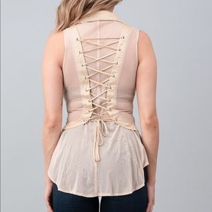 Taupe Beige Lace Up Sleeveless Top Button Up
